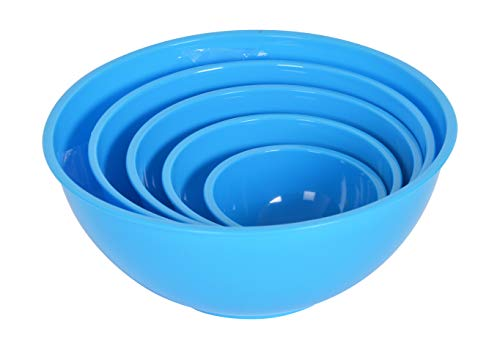 JOYO PLASTICS Plastic Eating   Mixing Bowl, 5 Piece, Blue