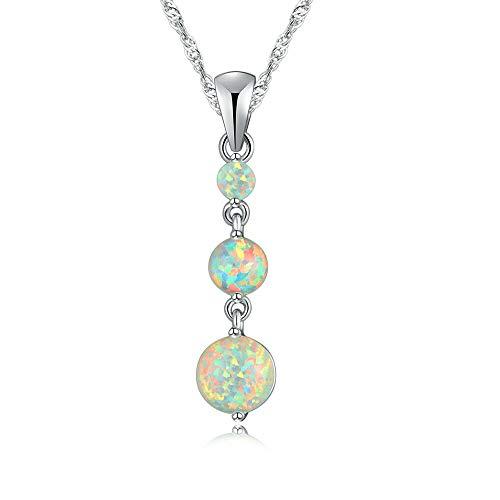 (White Fire Opal Silver Fashion for Women Jewelry Gemstone Pendant 1 3/8 OD6458)