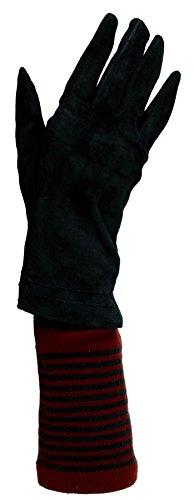 つまらないセラー名門デザイナー女性トレンディ暖かいストライプスリーブ&本スエードグローブセット – Lexie – Pia Rossini