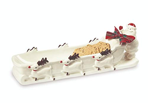 Mud Pie Home Santa and Reindeer Sleigh Christmas Cracker Dish- 4