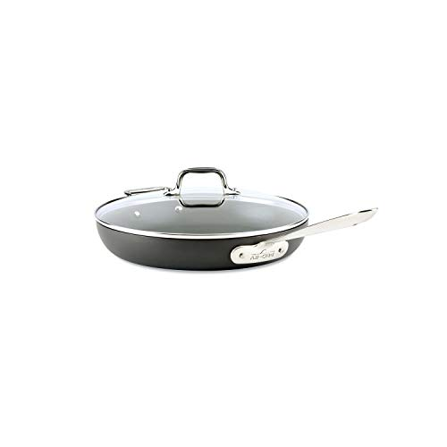 """All-Clad HA1 Hard Anodized Nonstick Frying Pan with Lid, 12 12"""", Medium Grey"""
