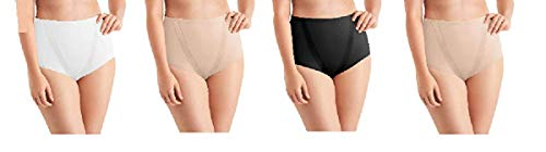Maidenform Tummy Toning Shaping Briefs, All Over Smoothing, Comfort Leg Opening Perfect for Every Day 4 Pack (4 Pack- Black, White, Latte, Medium)