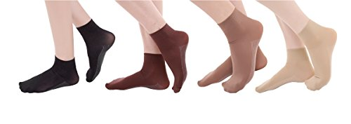 6 Pair Women Microfiber Anti-Slip Cotton Sole Opaque Ankle High Tights Hosiery Socksassorted (Microfiber Opaque Trouser Sock)