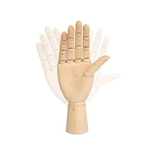 Alikeke Wooden Hand Model Flexible Moveable Fingers Manikin Hand Figure Both Left and Right Hand for Sketching Drawing Home Office Desk Posable Joints Kids Children Toys Gift 10 INCH by Alikeke (Image #4)