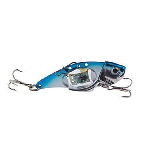(1Pcs LED Fishing Lure Light 32g 8cm Blade Lure Treble Hook Electronic Lighted Fishing Bait Metal Lure Flash Lamp Spoon - (Color: Blue))