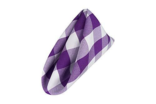 (AGN Elegant Linen Checkered Polyester Napkins Set of 12 (18x18) (White-Purple))