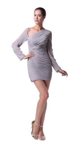 herafa p31725-2 Cocktail Dresses Elegant Halter Long Sleeve Ruched mini Sheath Grey