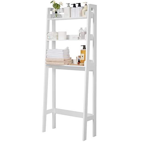 Yaheetech 3-Shelf Over-The-Toilet Storage, Freestanding Bathroom Shelf Organizer, Space Saving Wooden Toilet Rack Water-Resistant Finish, White
