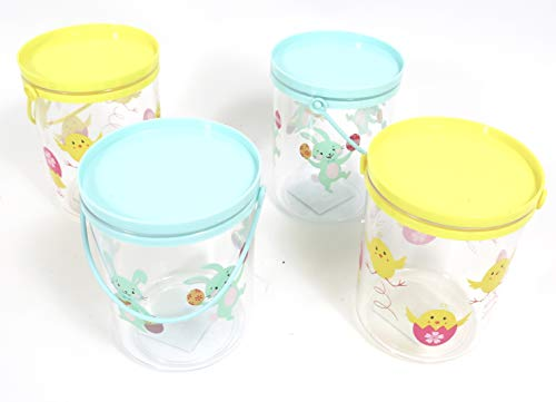 Easter cookie jars set of 4. Adorable plastic gift containers for,candy, Waster cookies toys -