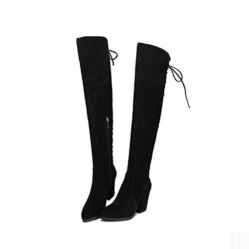 con moda scarpe 35 Bootie inverno pelle tacco opaca vera Caldo 34 donna gamba pelle alto cinghie stivali CqEOxZft