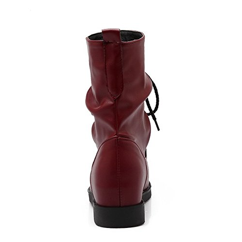 AgooLar Women's Round Closed Toe Kitten Heels Mid Top Solid Boots with Knot Red MurvRofb6