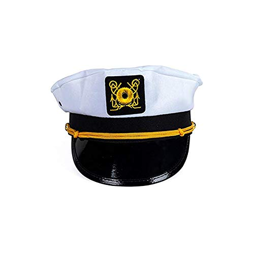 Blue Green Novelty White captain hat, yacht captain hat, Childs captain hat, Party favour, Birthday Gifts, Funny Party Hats ()