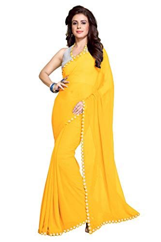 Sourbh Women's Faux Georgette Plastic Mirror Work Saree (8432_Yellow)
