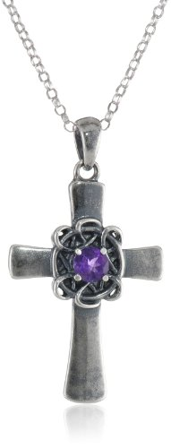 Sterling Silver Oxidized Genuine Amethyst Celtic Cross Pendant Necklace, 18