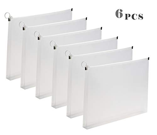 Plastic Zippered Folder Envelopes - 5pcs Clear Poly Pouch Envelopes File Document Holder Case Letter Size