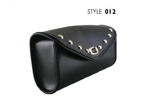Ultimate Leather 012 Black Waterproof Chrome Studded Motorcycle Windshield Bag - One (Harley Davidson Windshield Bag)