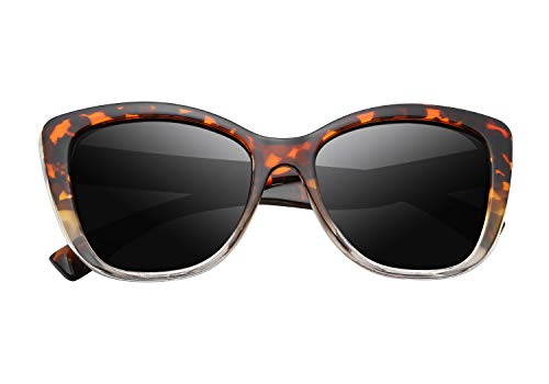 FEISEDY Polarized Vintage Sunglasses American Square Jackie O Cat Eye Sunglasses B2451 (T & Clear, 56) (Polarized Cat Eye)