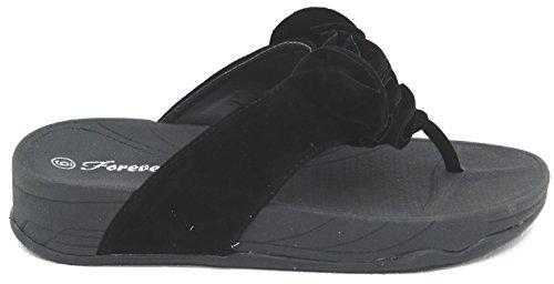 Kvinna Multi Färg Snygg Passform Ness Flip Flop Balett Platta Flora-90 Sandal Bekväm Sko Svart / Vit