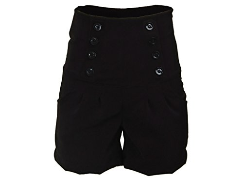 Black-Double-Button-Stretchy-Rockabilly-Super-High-Waist-Womens-Shorts-Hotpants