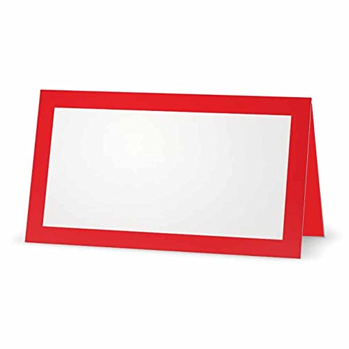 Red Place Cards - Flat or Tent - 10 or 50 Pack - White Blank Front with Solid Color Border - Placement Table Name Seating Stationery Party Supplies - Occasion or Dinner Event (50, Tent Style)