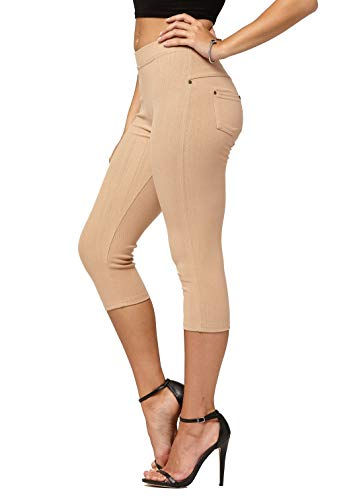 Premium Stretch Soft High Waisted Jeggings for Women - Denim Leggings - Cotton Stretch Blend - Capri Khaki Beige - Small/Medium