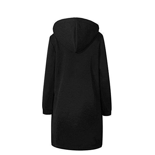 Casual Cappotto Elegante Parka Nero Giacca Bainasiqi Con Cappuccio Cardigan Invernale Donna Lunga O5qnTz