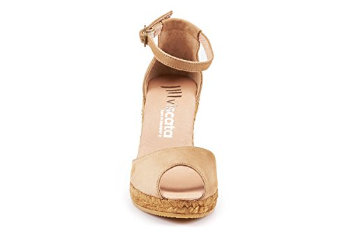 VISCATA Caprubi Elegant Comfort, Soft Suede, Ankle-Strap, Open Toe, Espadrilles with 3-inch Heel Made in Spain marrón claro