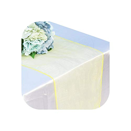 30x275cm Soft Sheer Fabric Organza Table Runner for Wedding Party Banquet Table Decoration Chair Bows Swag Luxury Black White,Solid,Yellow