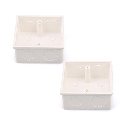 2 Pcs 86x86x38mm White PVC Flush-Type Wall Mounted Single Gang Junction Box