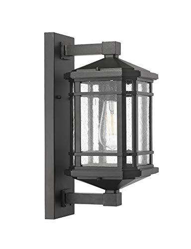 HOMEnhancements- Medium Coach Light- Textured Black Finish- Clear Seeded Glass Finish- 16.25