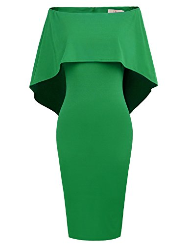 GRACE KARIN Women Off Shoulder Batwing Cape Midi Dress XL Green -