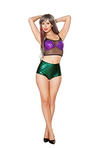 1 PC Mermaid Purple Shell Print Sheer Mesh Black Tank Top Party (Halloween Costume Club Los Angeles)