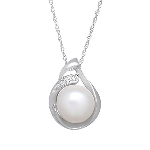 Sterling Silver Freshwater Cultured Pearl Pendant Necklace with - Pearl Clasp Diamond Necklace