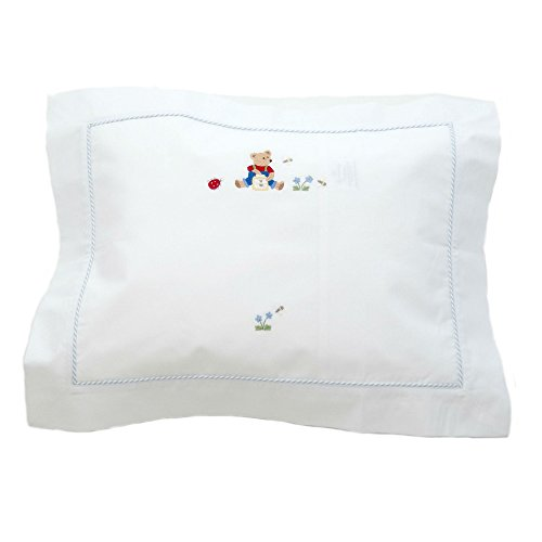 Gordonsbury Boudoir Pillowcase: Decorative Toddler/Baby Cotton Pillow Sham with Hand Stitched Embroidery, Teddy Bear Blue