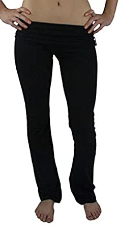 Zenana Outfitters Women's Fold Over Yoga Pants (Medium, Black)