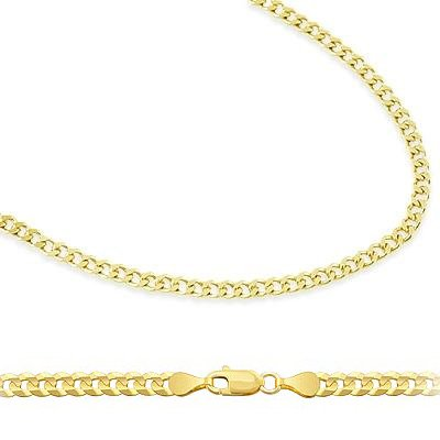 """14k Solid Yellow Gold Cuban Curb Link Bracelet 2.4mm, 7"""" from Sonia Jewels"""