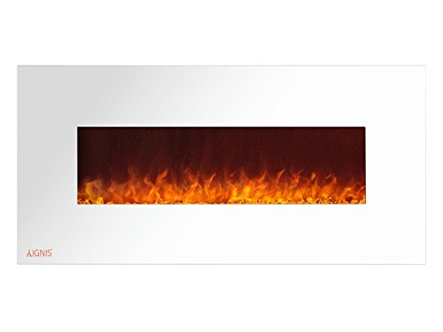 Cheap Ignis Royal White 50 inch Wall Mount Electric Fireplace with Crystals CSA US Certified (Could be recessed with no Heat) Black Friday & Cyber Monday 2019