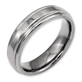 Bridal Titanium Ridged Edge 6mm Polished Band
