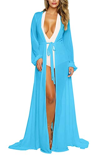 Women's Light Blue Sexy Sheer Long Sleeve Swimsuit Swim Bathing Beach Cover Up Dress Maxi L