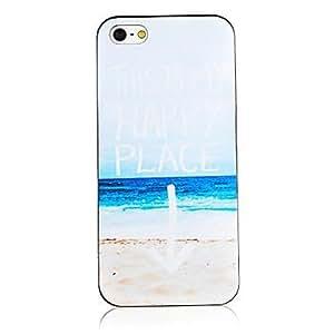 GJY Seabeach Pattern Black Frame Back Case for iPhone 5/5S