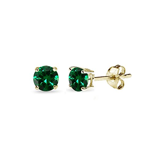 Yellow Gold Flashed Sterling Silver Simulated Emerald 4mm Round-Cut Solitaire Stud Earrings ()