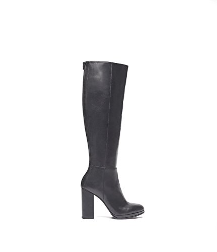 PoiLei Ina - Women's Shoes/Knee-high Boots Made from Smooth Shiny Leather - Sleek Pointed Toe, high Block-Heel and Platform/Classic Look Black