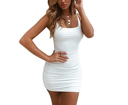 Women Sexy Bodycon Dress Nightclub Strap Red Spaghetti Party Mini Bandage Dress,White,S for $<!--$26.85-->
