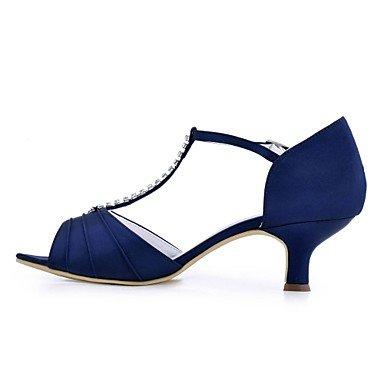 El y Tacón Punta Cuadrado Zapatos abierta regalo Azul eu39 para 5 madre para Cristal Satén Mujer Elástico Negro Hebilla Pump Vestido mujer Zapatos de boda mejor us8 cn Verano Boda Básico uk6 5 aUaxTqIr