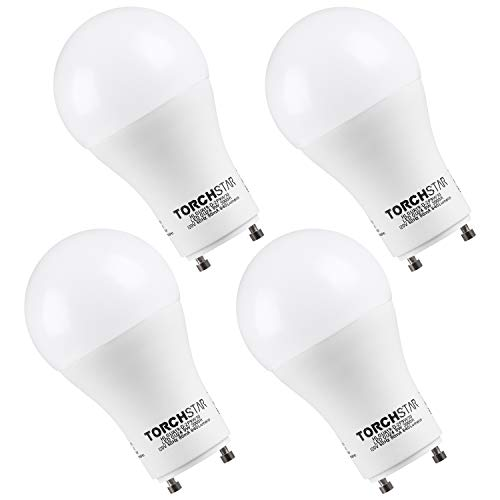 TORCHSTAR 9W Dimmable A19 LED Light Bulb GU24 Base, Energy Star UL-Listed Bulb, 60W Equivalent, 840 Lumens, 3000K Warm White, 310° Omni-Directional General Lighting, 3 Years Warranty, Pack of 4