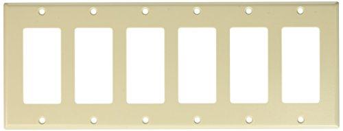 Leviton 80436-T 6-Gang Decora/GFCI Device Decora Wallplate, Standard Size, Thermoset, Device Mount, Light Almond, 10-Pack by Leviton (Image #1)
