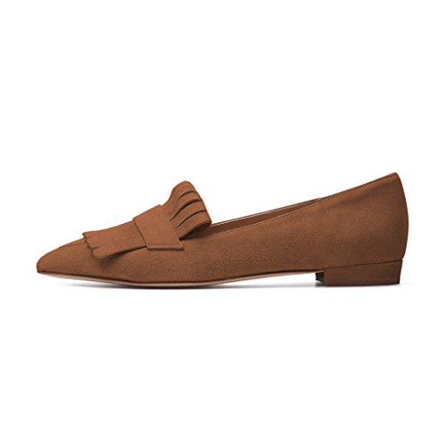 Flats Fringe Toe Loafers XYD Slip Low Heels Dress Pump Driver Brown Vintage Shoes On Pointy UqHtptWw5x