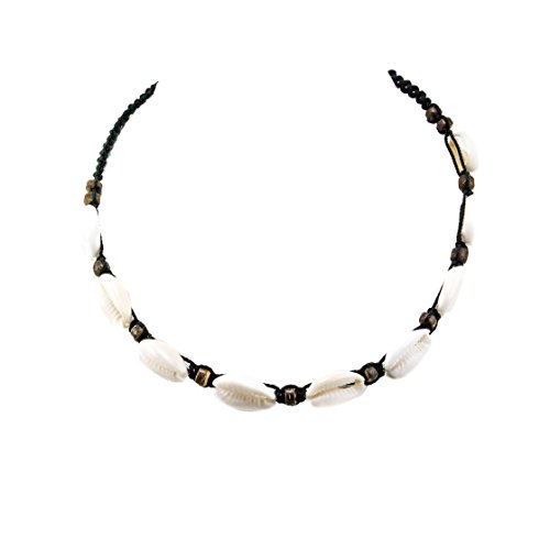 BlueRica Cowrie Shell Choker Necklace with Brown 5mm Coconut Wood -