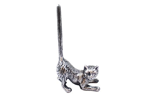 Rustic Silver Cast Iron Cat Extra Toilet Paper Stand 10'' - Cast Iron Home Decor