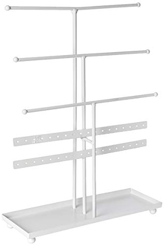 DII Z01649 Tree Tower, 3 Tier Metal Modern Look Jewelry Organization, White